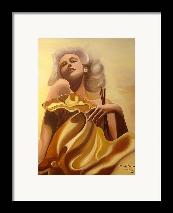 Figurative Framed Print featuring the painting The Beauty And The Elegance by Erminia Schirru