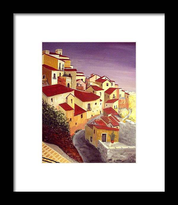House Framed Print featuring the painting the beauty of Sicily by Anthony Meton