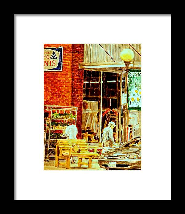 Small Town Framed Print featuring the painting The Bed Planters by Thomas Akers