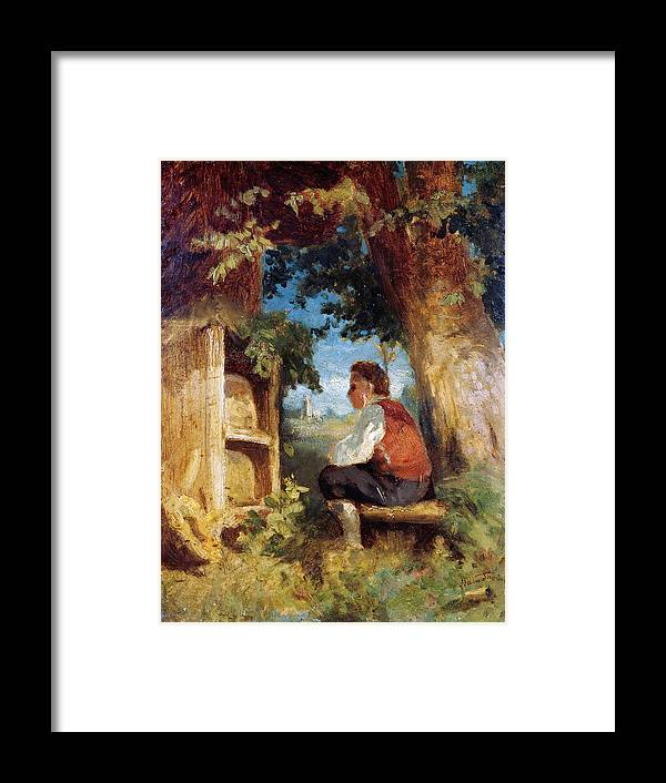 Hans Thoma Framed Print featuring the painting The bee friend by Hans Thoma