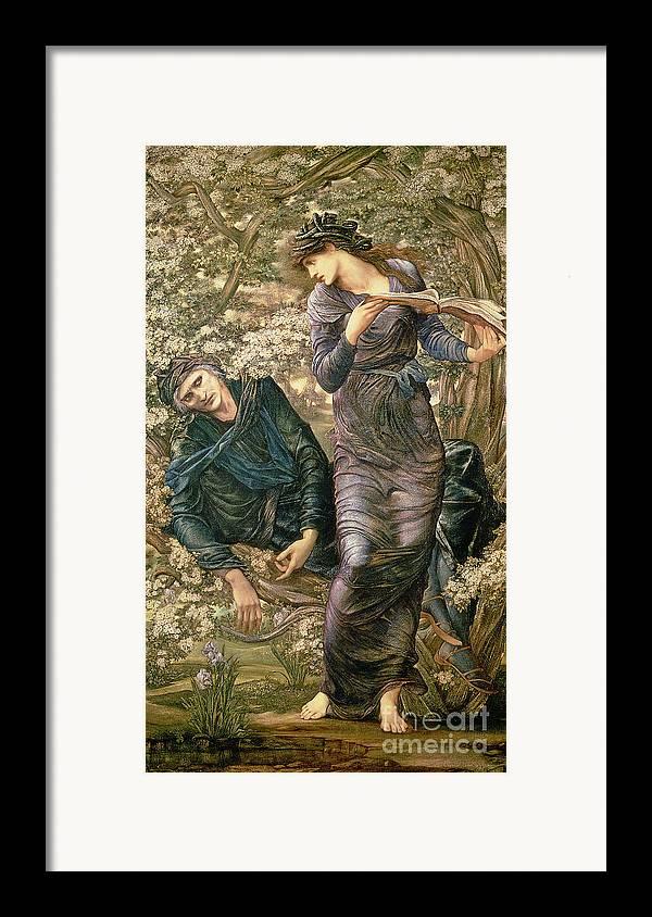 The Beguiling Of Merlin Framed Print featuring the painting The Beguiling Of Merlin by Sir Edward Burne-Jones
