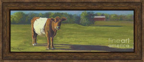 Belted Cow Painting Framed Print featuring the painting The Belted Cow by Terri Meyer