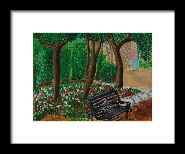 Bench Framed Print featuring the painting The Bench by Charla Van Vlack