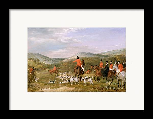 The Framed Print featuring the painting The Berkeley Hunt by Francis Calcraft Turner