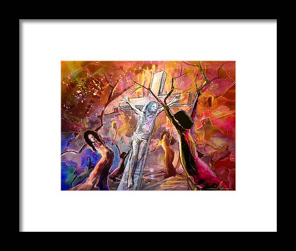 Fantasy Framed Print featuring the painting The Bible Crucifixion by Miki De Goodaboom