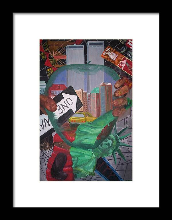 New York Framed Print featuring the painting The Big Apple by Lauren Luna