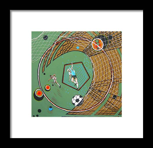 Abstract Sports Framed Print featuring the painting The Big Kick by V Boge