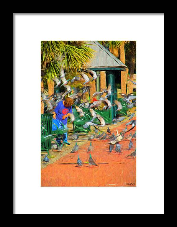 Birds Framed Print featuring the photograph The Bird Feeder by Terri Tiffany