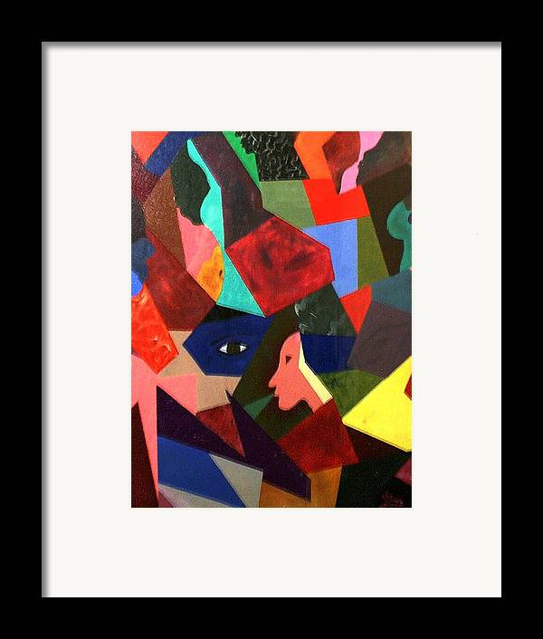 Geometric Art Framed Print featuring the painting The Birth by Guillermo Mason