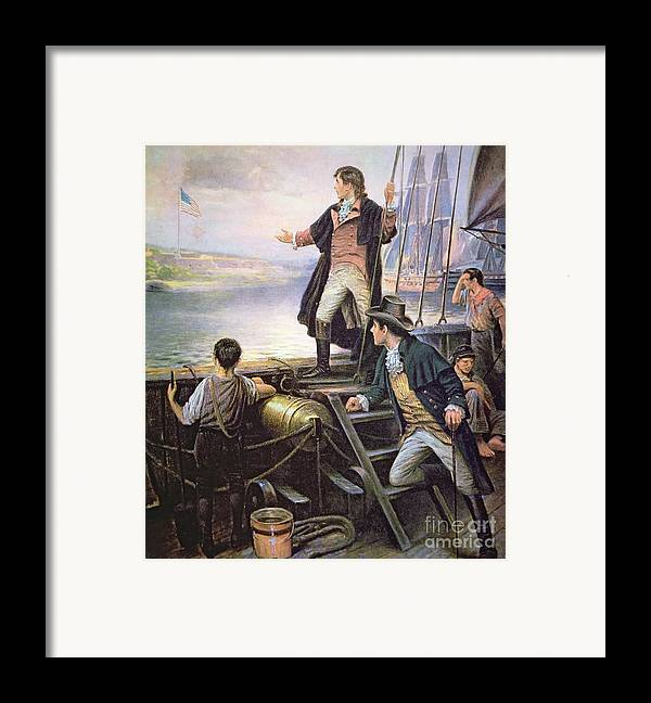 Male; American; Ship; Port; American Flag; Victory; Inspiration; Inspired; Us; Usa; American National Anthem Framed Print featuring the painting The Birth Of The Us National Anthem by American School