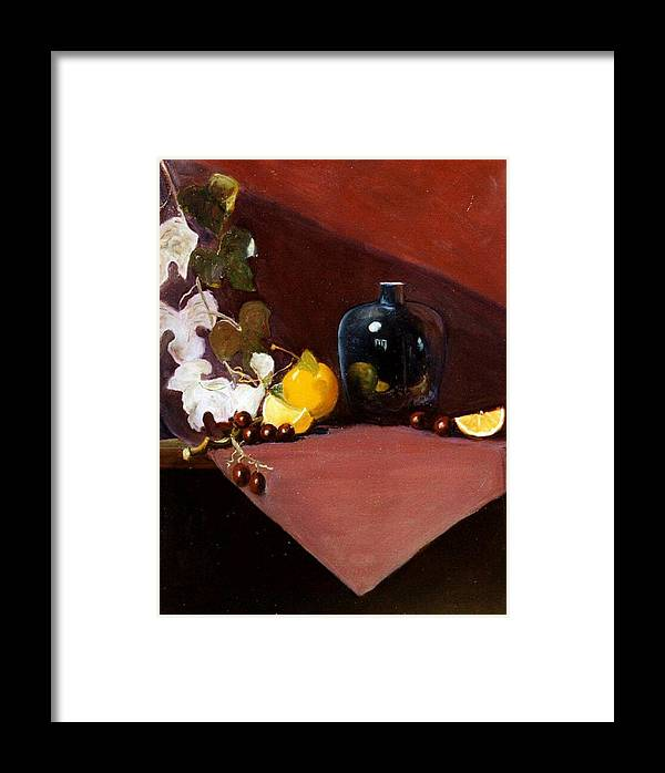 Still Life Framed Print featuring the painting The Black Vase by Jeanene Stein