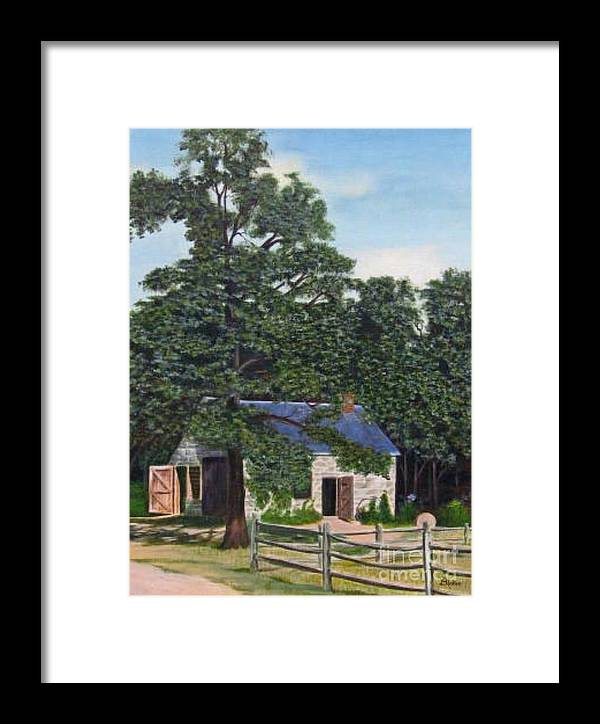 Landscape Framed Print featuring the painting The Blacksmith Shop by Donald Hofer