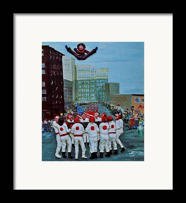 Street Framed Print featuring the relief The Blanket Toss by Richard Hubal