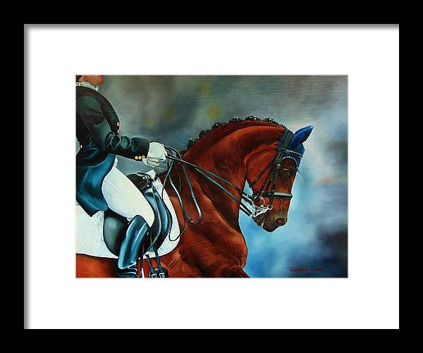 Horse Framed Print featuring the painting The Blue bonnet by Dana Newman