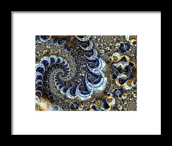 Fractal Diamonds Blue Jewel Dance River Framed Print featuring the digital art The blue diamonds by Veronica Jackson