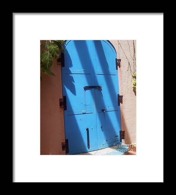 Architecture Framed Print featuring the photograph The Blue Door by Debbi Granruth