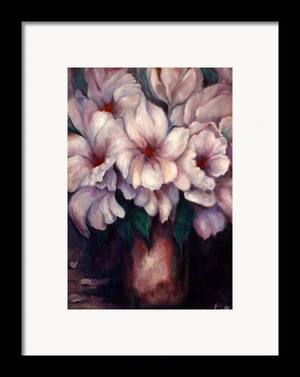 Blue Flowers Framed Print featuring the painting The Blue Flowers by Jordana Sands