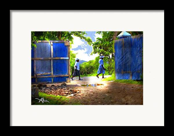 Impressionism Framed Print featuring the painting The Blue Gate by Bob Salo