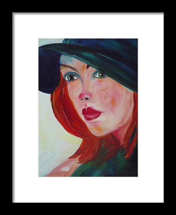 Girl Framed Print featuring the painting The Blue Hat by Irit Bourla