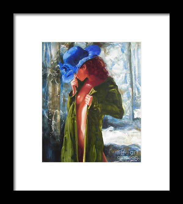 Art Framed Print featuring the painting The Blue Hat by Sergey Ignatenko