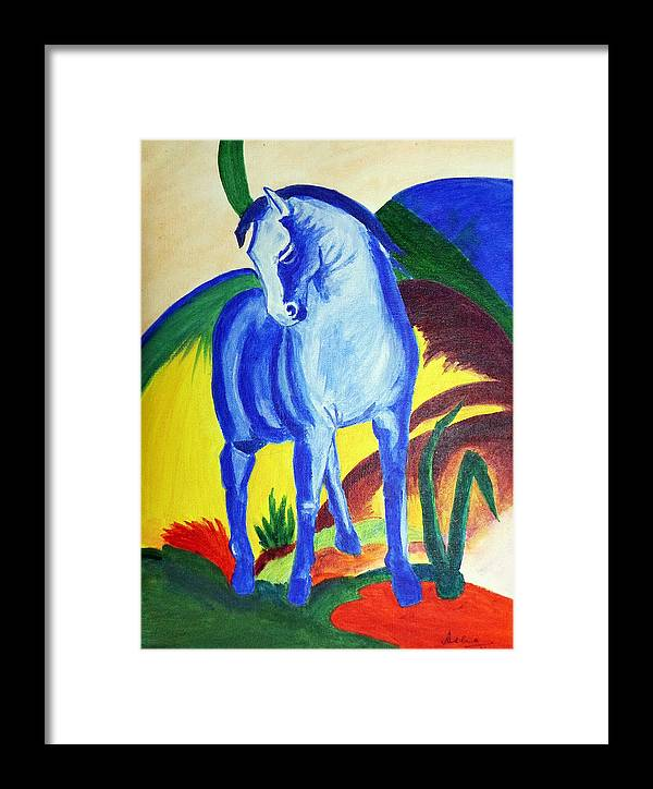 Horse Framed Print featuring the painting The Blue Horse Franc Marz by Asha Sudhaker Shenoy