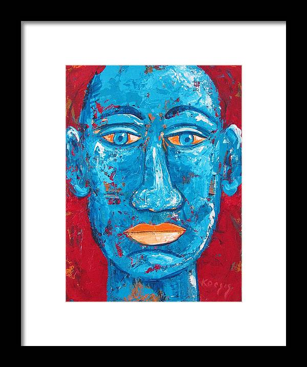 Man Framed Print featuring the painting Contemplative Blue by Rollin Kocsis