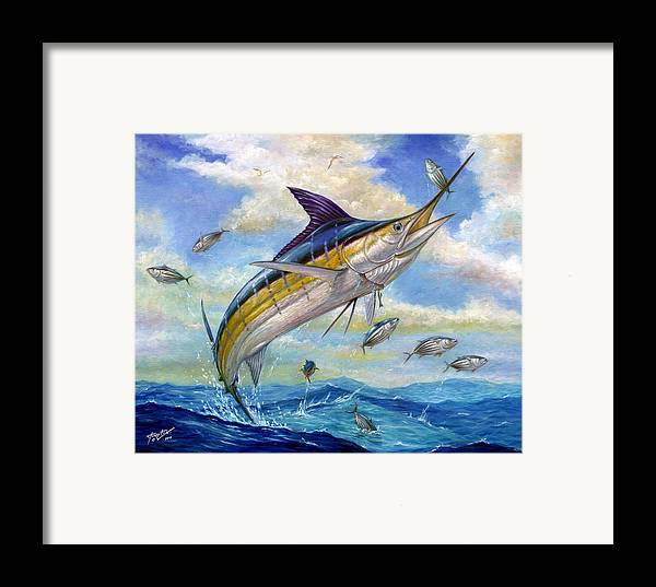 Blue Marlin Framed Print featuring the painting The Blue Marlin Leaping To Eat by Terry Fox
