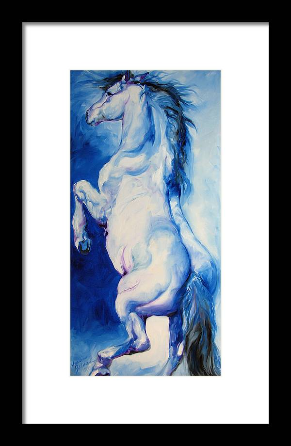 Horse Framed Print featuring the painting The Blue Roan by Marcia Baldwin