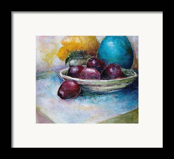 Jar Framed Print featuring the painting The Blue Vase Iv by Jun Jamosmos
