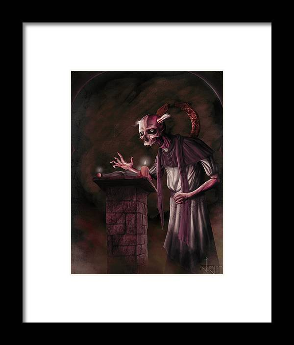 Medieval Framed Print featuring the painting The Bone Priest by Logan Chitwood