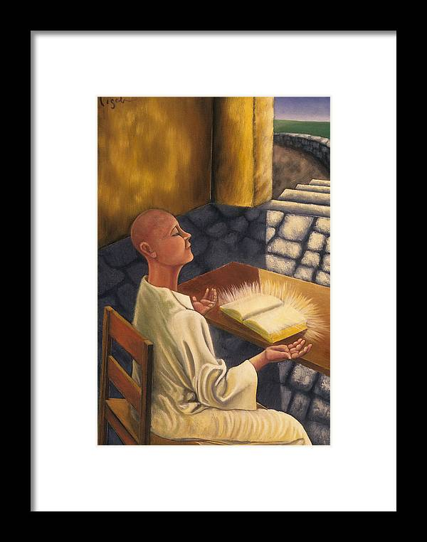 Figurative Framed Print featuring the painting The Book Of Knowledge by Gloria Cigolini-DePietro