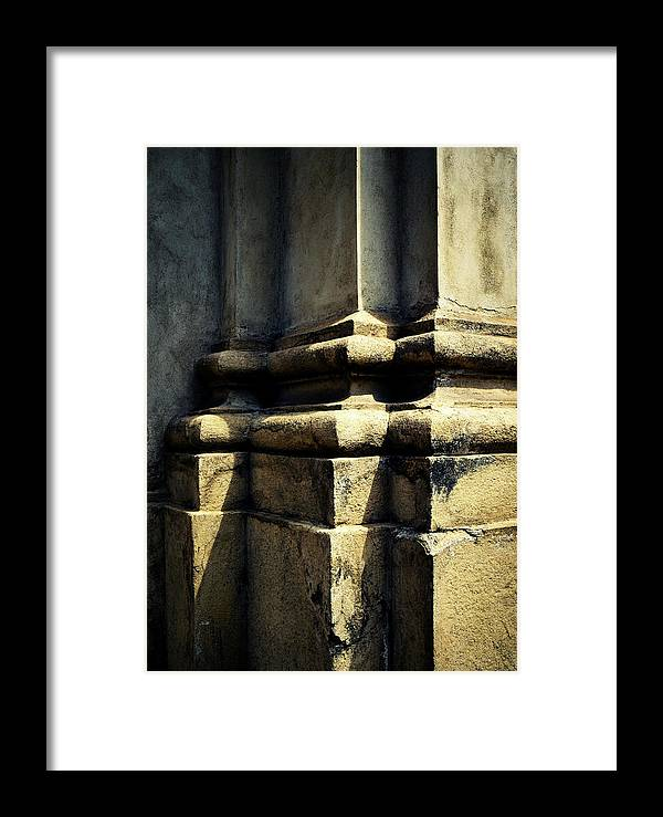 Grey Framed Print featuring the photograph The Bottom Of The Pillar Of The Old Building by Jozef Jankola