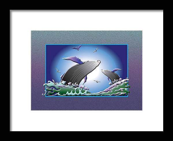 Whales Framed Print featuring the digital art The Breach Boys by Jack Potter