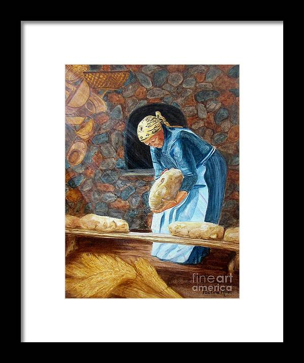 Fresh Bread Framed Print featuring the painting The Breadbaker by Pauline Ross