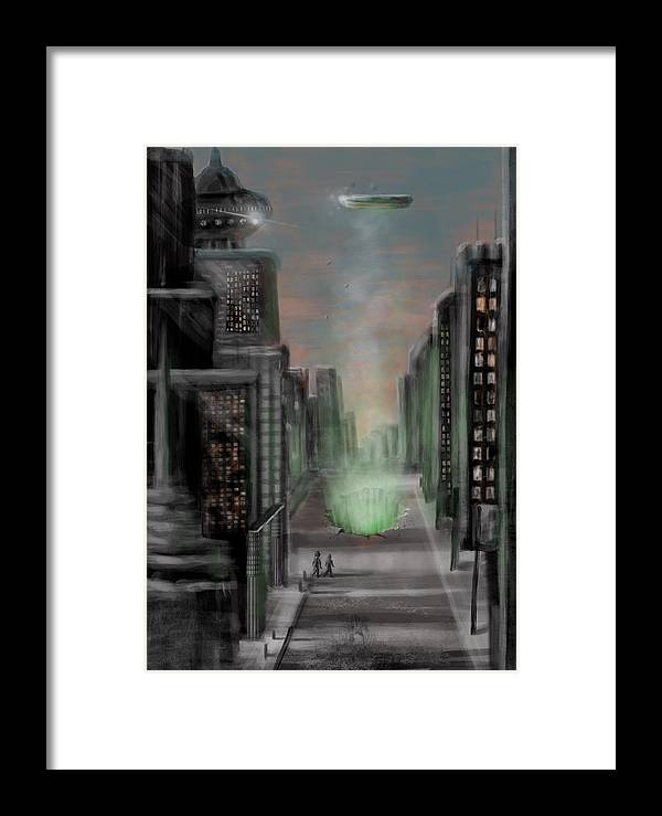 Ufo Framed Print featuring the digital art The Breakthrough by Larry Whitler