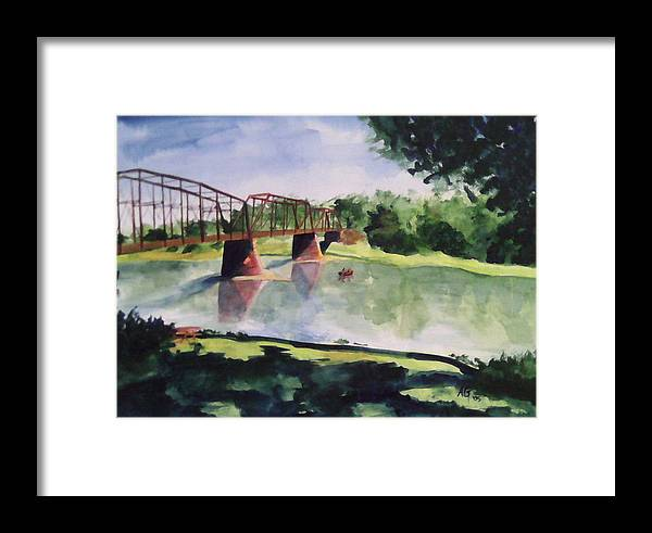 Bridge Framed Print featuring the painting The Bridge At Ft. Benton by Andrew Gillette