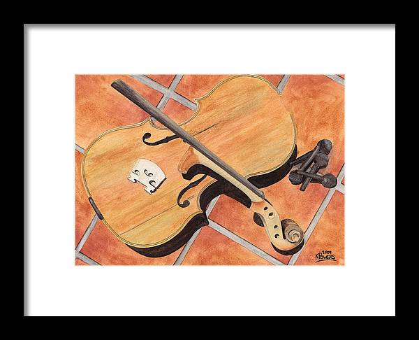 Violin Framed Print featuring the painting The Broken Violin by Ken Powers