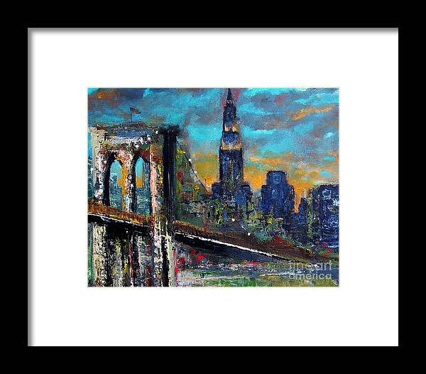 Bridges Framed Print featuring the painting The Brooklyn Bridge by Frances Marino