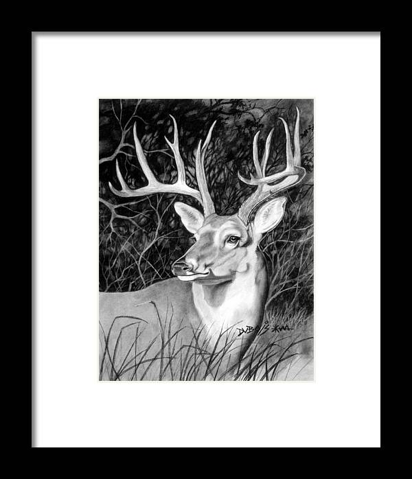 Deer Framed Print featuring the drawing The Buck by Howard Dubois