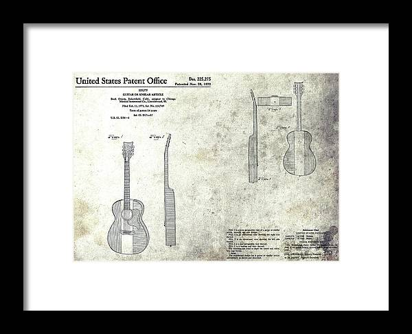 Buck Owens Guitar Patent Framed Print featuring the mixed media The Buck Owens Guitar Design by Dan Sproul