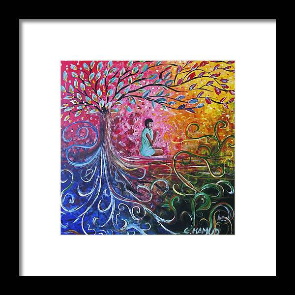 Abstract Framed Print featuring the painting The Buddha Started by Mac Mood