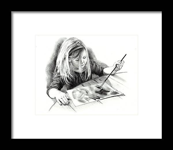 Child Framed Print featuring the drawing The Budding Artist by Joyce Geleynse