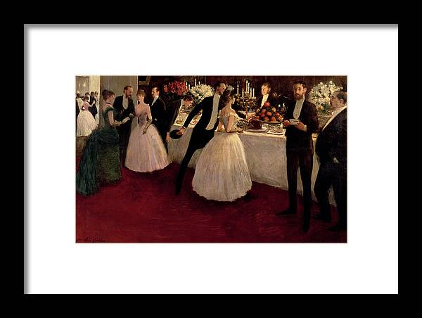 The Buffet Framed Print featuring the painting The Buffet by Jean Louis Forain