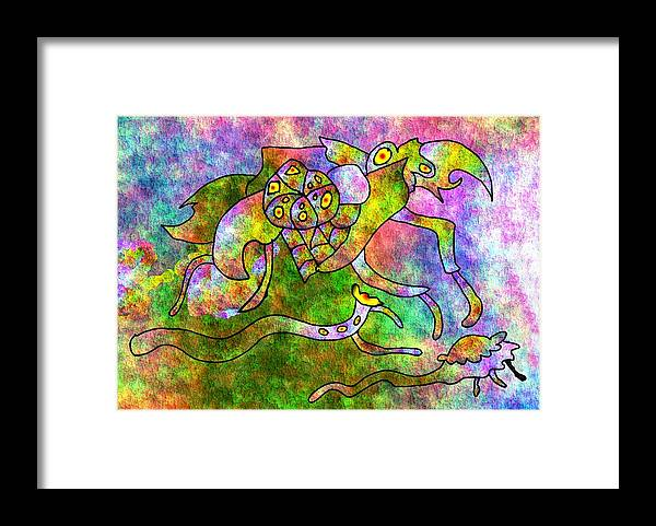 Bugs Color Texture Abstract Fun Framed Print featuring the digital art The Bugs by Veronica Jackson
