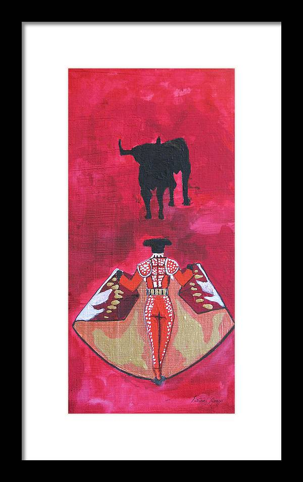 Spanish Art Framed Print featuring the painting The Bull Fight No.1 by Patricia Arroyo