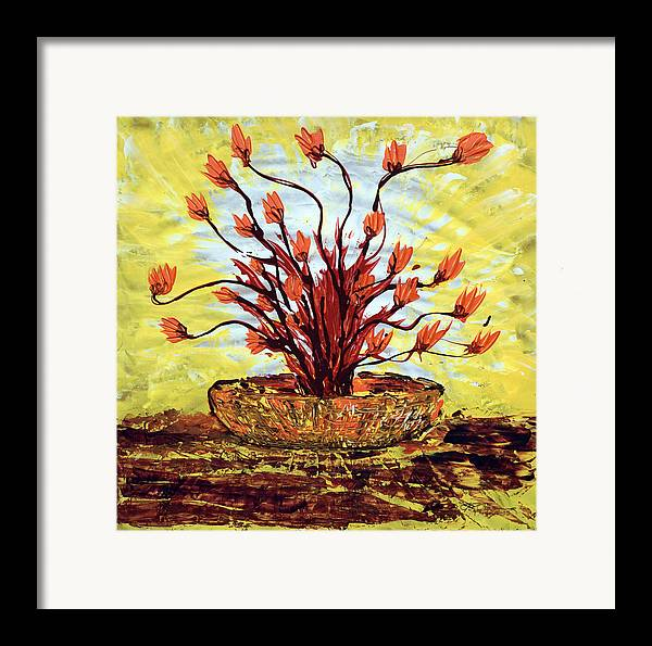 Red Bush Framed Print featuring the painting The Burning Bush by J R Seymour
