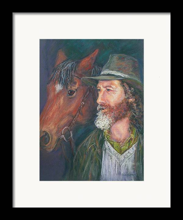 Horse & Rider Framed Print featuring the painting The Bushman by Sue Linton