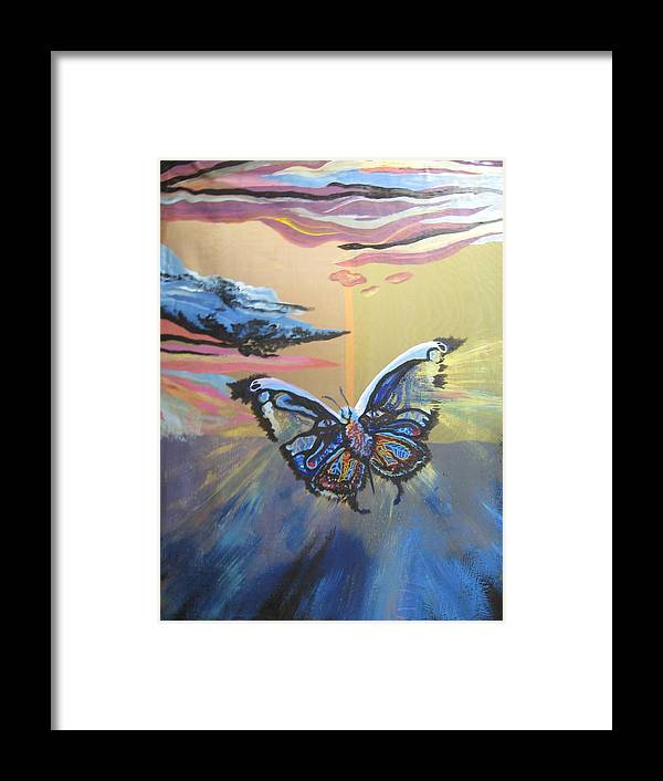 Butterfly Framed Print featuring the painting The Butterfly by Theodora Dimitrijevic
