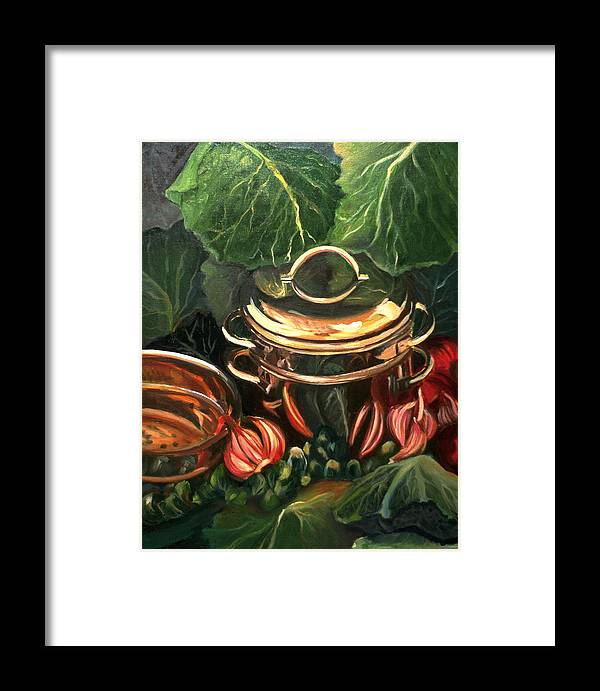 Still Life Framed Print featuring the painting The Cabbage Pot by Patricia Reed