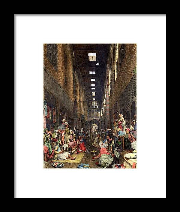John Frederick Lewis(1804-1876)-orİentalİsm-(the Cairo Bazaar_19th Century) Framed Print featuring the painting The Cairo Bazaar by John Frederick